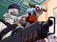 Arukenimon and mummymon with gun