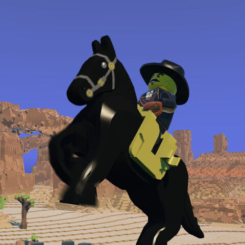 Outlaw on a rearing Black Horse.