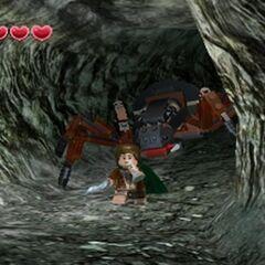 Frodo running away from Shelob