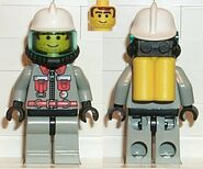 Fire - City Center 5, Light Gray Legs with Black Hips, White Fire Helmet, Airtanks
