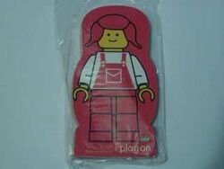 4227182-Memo Pad Minifig - (B) red pigtails overalls