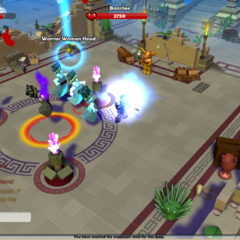 Banshees surrounding the Crone of the Maze, with their health being displayed on top of the screen. (The part is not dropped by defeating a Banshee.)