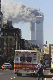 9-11 towers burning