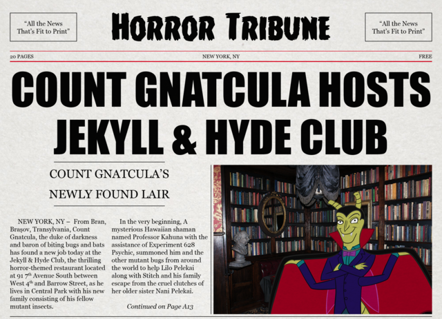 File:Count Gnatcula Hosts Jekyll & Hyde Club horror tribune newspaper top page.png