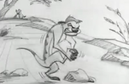 Timons father hits foot with a rock
