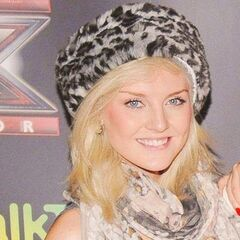 Perrie's straight golden blonde angled hairstyle