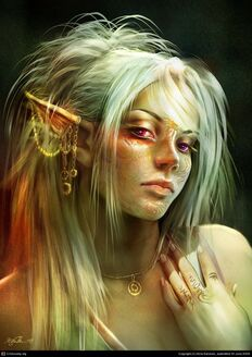 Portrait-of-an-elf-female-with-tattoos-on-face-and-earring-and-necklace