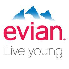Evian logo live young white-X2