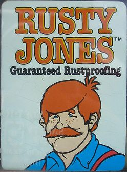 Rusty Jones sticker (guaranteed rustproofing)