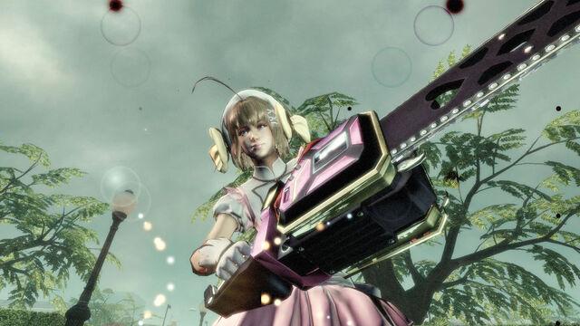 File:Lollipop Chainsaw Screenshot Juliet in Haruna cosplay with Chainsaw.jpg