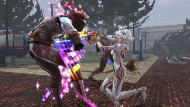File:Lollipop Chainsaw Screenshot Juliet in Shiro cosplay executing a Combo attack.jpg