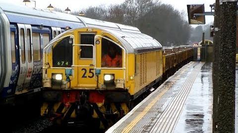 London Underground Battery locos 25 54 on Engineers Train 674 @ Rayners Lane 30 12 13