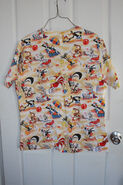 Looney Tunes Scrub Top Uniform Shirt Small Beach Daffy Bugs Tweety Peppy Foghorn