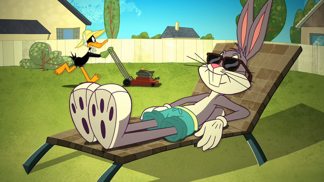 File:Bugs Sunbathes and Daffy Mowing the Lawn in the Backyard.png