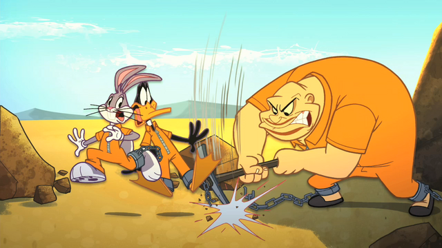 File:Crusher Drives his Pickaxe in Bugs and Daffy's Chain.png