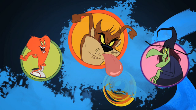 File:Gossamer, Taz, and Witch Lezah.png