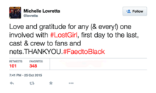 Michelle Lovretta (end of series tweet)