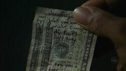 Die obere Hälfte der $20 Banknote.
