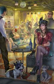 640x990 255 Secret agent 2d illustration secret agent nightclub assassin girl female woman picture image digital