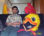 Raj and chicken head