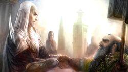 Elf Glorfindel and Dwarf Gloin