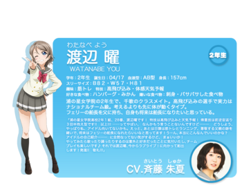 Sunshine!! character intro - Watanabe You