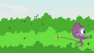 Purple Monkey running on treetop