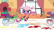 Minka throws paint