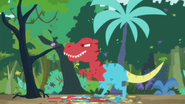 Red, Blue, and Yellow T-rex appears
