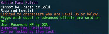 Level 18 battle mana health potion 1