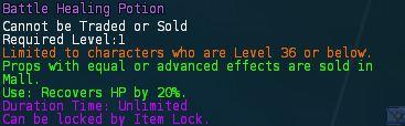 Level 18 battle mana health potion 2