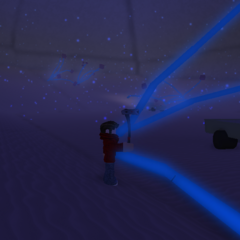 A player at the base of the Cavern.