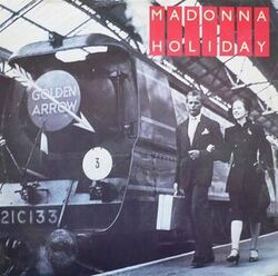 Madonna Holiday first UK vinyl cover art Golden Arrow montage