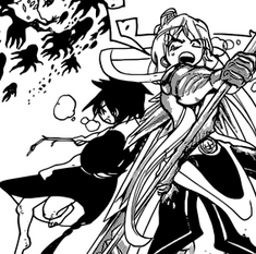 Kouha and Aladdin during the fight