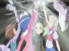 Sasami Mahou Shoujo Club Misao, Makoto, Tsukasa and Anri using their magic4