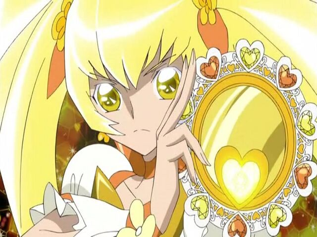 File:Heartcatch Pretty Cure! Cure Sunshine with her Shiny Tambourine.jpg