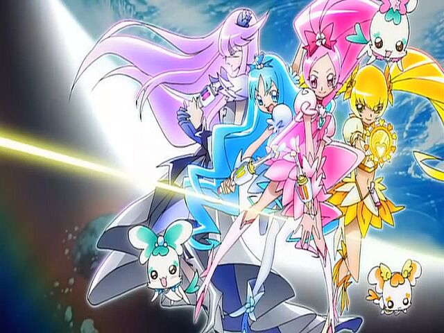 File:Heartcatch Pretty Cure! Cure Blossom, Marine, Sunshine and Moonlight in the opening.jpg