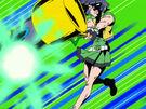 Powerpuff Girls Z Buttercup using her attack (foam version)