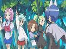 Sasami Mahou Shoujo Club Sasami, Makoto, Tsukasa and Anri using their magic (ending)