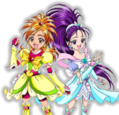 Pretty Cure Splash Star Cure Bright and Cure Windy pose
