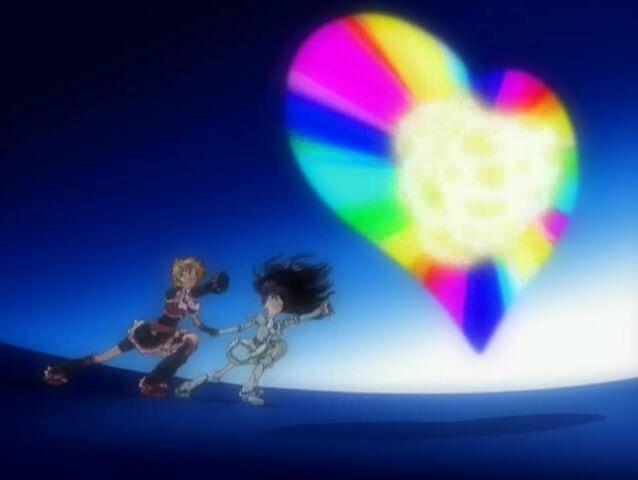 File:Futari wa Pretty Cure Max Heart Cure Black and White using the Extreme Luminario attack.jpg