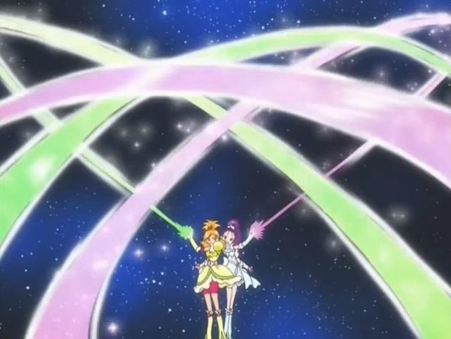 File:Futari wa Pretty Cure Splash Star Cure Bright and Windy in the Spiral Star Splash attack.jpg