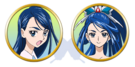Yes! Pretty Cure 5 Karen and Cure Aqua faces