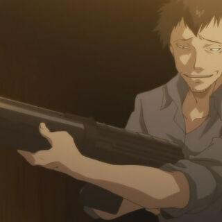 Shakadou carrying a gun (Anime)