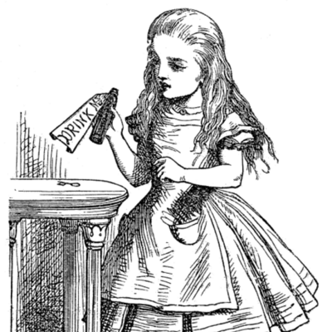 Alice in one of John Tenniel's illustrations for Alice's Adventures in Wonderland.
