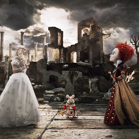 Red and White Queen with the White Rabbit.