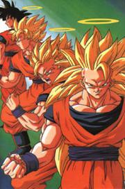 Three Super Saiyan Stages of Son Goku