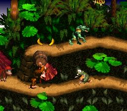 Barrel Throw at Gnawty - Jungle Hijinxs - Donkey Kong Country