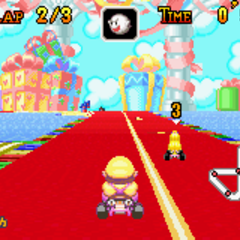 Wario racing on the track.