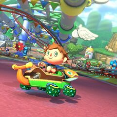 A male Villager racing in the track.